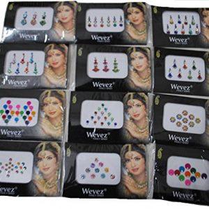 063811e5c7a1 300x300 - 12 Gold ,Silver, Multi Color Bollywood Head Bindi Tattoo Body Glitter
