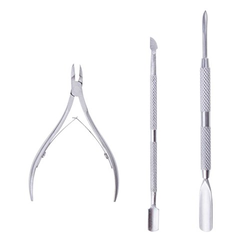 LEMONBEST A Set of Stainless Steel Nail Cuticle Spoon Pusher Remover Cutter Nipper Clipper Professional Manicure Tools