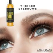 Aria Starr Castor Oil Cold Pressed – 16 FL OZ – BEST 100% Pure Hair Oil For Hair Growth, Face, Skin Moisturizer, Scalp, Thicker Eyebrows And Eyelashes