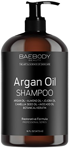 Baebody Moroccan Argan Oil Shampoo 16 Oz – Sulfate Free – Volumizing & Moisturizing, Gentle on Curly & Color Treated Hair, for Men & Women. Infused with Keratin.