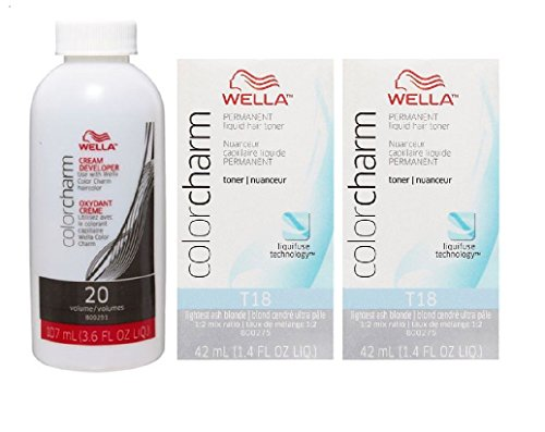 Wella Color Charm T18 Lightest Ash Blonde 2-Pack with CC Cream 20 Developer 3.6 oz. – COMBO DEAL!