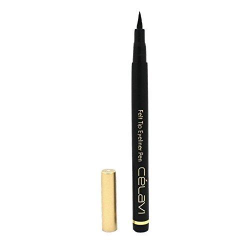 Celavi Waterproof Precision Liquid Felt Tip Eyeliner Pen, Black, .08 Oz