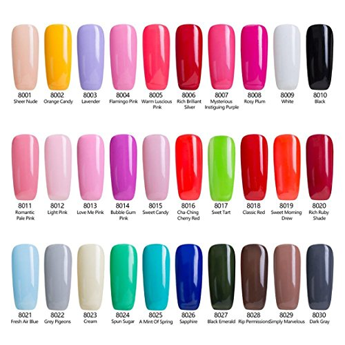 Gel Nail Polish Set, 8 tiny bottles, Soak Off Gel Polish, Required UV LED Nail Light Lamp, 0.24 OZ, Modelones