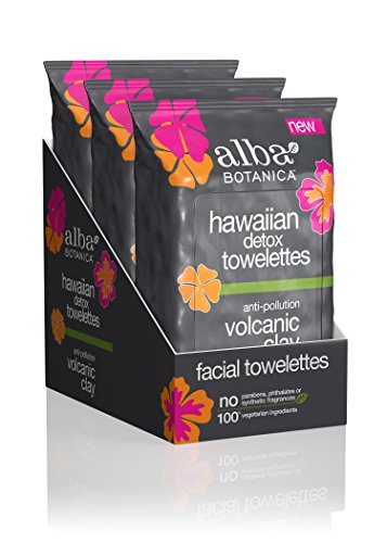Alba Botanica Hawaiian Detox Towelettes Anti-Pollution Volcanic Clay, 30 Count