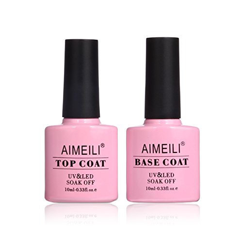 AIMEILI Gel Nail Polish No Wipe Top and Base Coat Set Soak Off UV LED Gel Nail Lacquer – 2 x 10ml