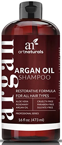 Art Naturals Organic Moroccan Argan-Oil Shampoo – Moisturizing, Volumizing Sulfate Free Shampoo for Women, Men and Teens – Used for Colored and all Hair Types, Anti-Aging Hair Care, 16 Ounce Bottle