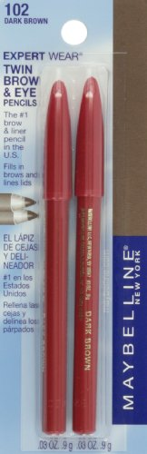 Maybelline Expert Wear Twin Brow & Eye Pencils, Dark Brown, 0.06 oz.
