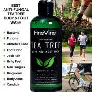 Antifungal Tea Tree Oil Body Wash – Made in USA – Helps Treat Eczema, Ringworm, Body Odor, Jock Itch, Acne, Toenail Fungus & Athlete Foot – Best Antibacterial Soap For Skin Irritations.