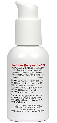Alpha Skin Care – Intensive Renewal Serum, 14% Glycolic AHA, Real Results for Lines and Wrinkles| Fragrance-Free and Paraben-Free| 2-Ounce