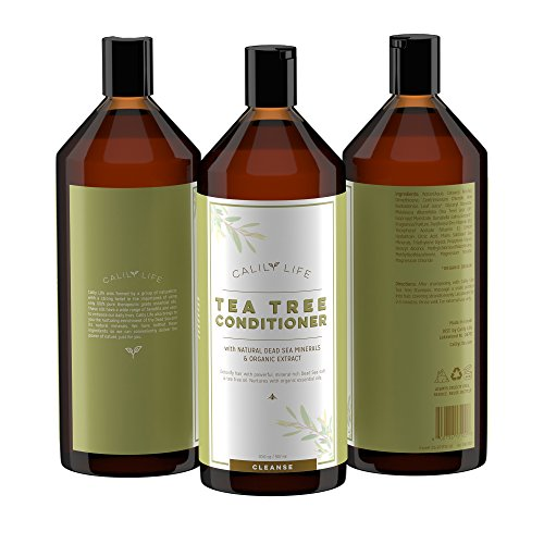 Calily Life Organic Tea Tree Shampoo + Conditioner with Dead Sea Minerals, Duo Set, 33. 8 Oz. Each – Refreshes, Removes Impurities, Softens & Invigorates – Promotes Hair Growth Naturally – [ENHANCED]
