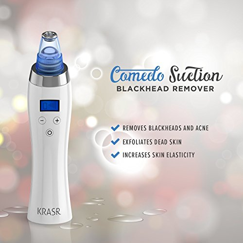 [2018 UPGRADED] The Original Comedo Suction Microdermabrasion Machine Blackhead Removal Rechargeable Skin Peeling Machine By Krasr Comedone Extractor Set – Exclusive
